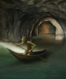 Goblin in boat on underground lake Stock Photos