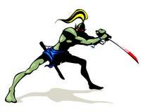 Goblin con la espada del cepillo Foto de archivo