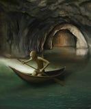 Goblin en barco en el lago subterráneo Fotos de archivo