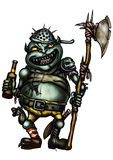 Goblin Guard. Illustration a scary goblin warder dressed in trash equipment, with an axe, holding a bottle of beer Royalty Free Stock Image