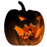 Goblin Living in a Halloween Lantern. Fantasy illustration of a tiny goblin creature living inside a Halloween pumpkin lantern, 3d digitally rendered vector illustration