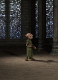 Goblin Servant Girl with Broom. Goblin servant girl with a broom sweeping the great hall, 3d digitally rendered illustration Royalty Free Stock Image