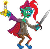 Goblin with sword. A goblin with a sword in his hand holding a candlestick with a lit candle to light his way is fully prepared to face any enemy Stock Photos