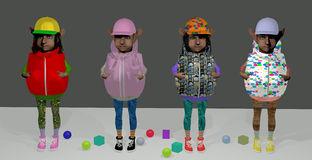 Goblin teens. 4 goblins, dressed like teens, among toy spheres and toy bricks, colorful, over a gray background, 3D illustration, raster illustration Royalty Free Stock Photo