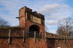 Goblin Tower. Sandstone tower built into a Roman wall in Chester UK Stock Image
