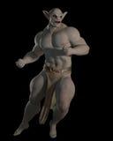 Goblin or troll fighting champion. Goblin or troll champion in a fighting pose on a black background, 3d digitally rendered illustration Stock Images