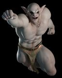 Goblin or Troll Leaping. Goblin or troll champion in a fighting or leaping pose on a black background, 3d digitally rendered illustration Royalty Free Stock Photography