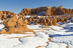Goblin Valley Snow Rivulets Royalty Free Stock Image