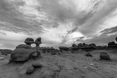 Goblin Valley State Park Black and White Royalty Free Stock Image