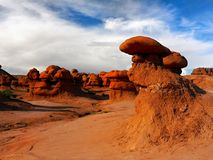 Goblin Valley State Park, Utah Landscape Attraction. Goblin Valley State Park - The landscape, covered with orange-red sandstone goblins and formations. Unique Royalty Free Stock Photo