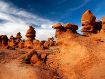 Goblin Valley State Park, Utah Landscape Attraction. Goblin Valley State Park - The landscape, covered with orange-red sandstone goblins and formations. Unique Stock Images