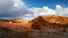 Goblin Valley State Park, Utah Landscape Attraction. Goblin Valley State Park - The landscape, covered with orange-red sandstone goblins and formations. Unique Stock Photos