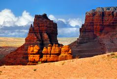 Goblin Valley State Park, Utah Landscape Attraction. Goblin Valley State Park - The landscape, covered with orange-red sandstone goblins and formations. Unique Stock Image