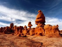 Goblin Valley State Park, Utah Landscape Attraction. Goblin Valley State Park - The landscape, covered with orange-red sandstone goblins and formations. Unique Stock Photo
