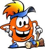Gobling anaranjado con un martillo grande Imagen de archivo libre de regalías