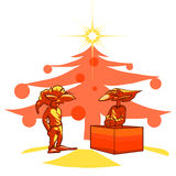 Goblins 2. Vector illustration of two goblins under the christmas tree Stock Photography