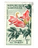 Gobon stamp with flower Royalty Free Stock Image