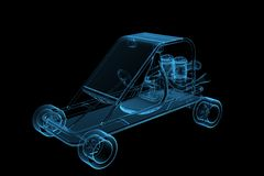 GoCart 3D rendered xray blue. Transparent Royalty Free Stock Photography