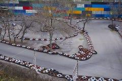 Gocart kapplöpningsbana Karting ruttspår arkivbild