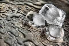 Gocce dell'acqua con i cubi di ghiaccio Immagine Stock Libera da Diritti