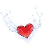 Gocce dell'acqua e del cuore Fotografia Stock