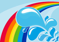 Gocce dell'acqua e del Rainbow Fotografia Stock Libera da Diritti