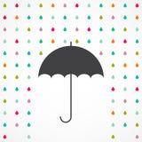 Gocce dell'ombrello e della pioggia di vettore Immagine Stock