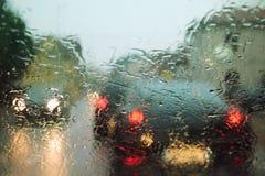 Gocce della pioggia sul parabrezza Immagini Stock Libere da Diritti