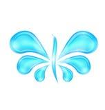 Gocce della spruzzata dell'acqua stilizzate farfalla astratta Fotografia Stock