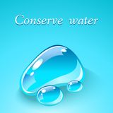 Gocce di acqua. Concetto ecologico di tema. Immagini Stock