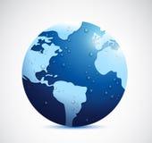 Gocce di acqua e progettazione piovosa dell'illustrazione del globo Fotografia Stock