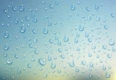 Gocce di acqua realistiche Derisione di orizzontale su su fondo variopinto Illustrazione di vettore illustrazione vettoriale