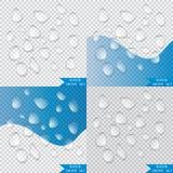 Gocce di acqua trasparenti realistiche illustrazione di stock
