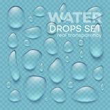 Gocce di acqua trasparenti realistiche messe Illustrazione di vettore Immagini Stock
