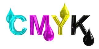 Gocce di CMYK Fotografia Stock