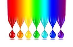 Gocce di colore dell'arcobaleno su bianco Fotografia Stock