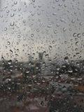 Gocce di pioggia del Messico sulla finestra Fotografie Stock