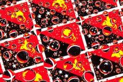 Gocce di pioggia in pieno di Palau-nuove bandiere della Guinea Fotografie Stock