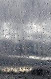 Gocce di pioggia su vetro Fotografia Stock Libera da Diritti