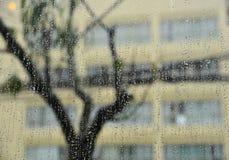 Gocce di pioggia su vetro al giorno piovoso immagine stock