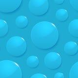 Gocce di pioggia sul blu. Fondo senza cuciture di vettore Fotografia Stock