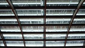 Gocce di pioggia sul tetto di vetro La vista dal fondo sulle gocce di pioggia spruzza e flusso giù sopra il vetro blurry fotografia stock