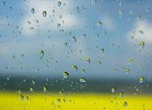 Gocce di pioggia sul vetro Fotografia Stock Libera da Diritti