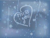 Gocce di pioggia sul vetro sudato Immagine Stock Libera da Diritti