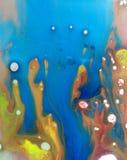 Gocce liquide colorate dell'olio e dell'acqua Fotografia Stock