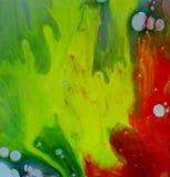 Gocce liquide colorate dell'olio e dell'acqua Fotografie Stock Libere da Diritti
