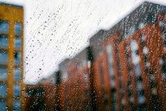 Gocce su vetro dopo pioggia Immagini Stock Libere da Diritti