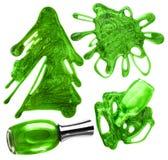 Gocce verdi dello smalto di chiodo fissate Fotografia Stock