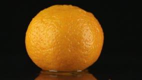 Goccia degli scorrimenti dell'acqua giù la pelle di un mandarino archivi video