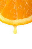 Goccia del succo di arancia Fotografie Stock Libere da Diritti